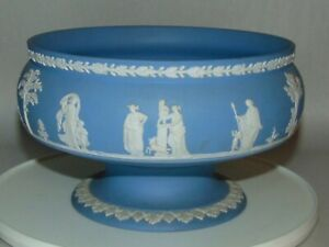 Vtg WEDGWOOD Large Footed Bowl BLUE JASPERWARE