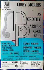 """1969 musical POSTER Sandy Wilson """"Dorothy Parker"""" Libby Morris Fortune Theatre"""