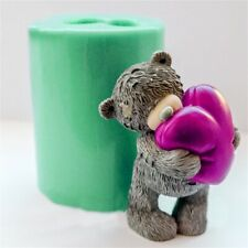 S9310 3D Animal Silicone Mold Teddy Bear Hugs Heart Shaped Candle Soap Gummy