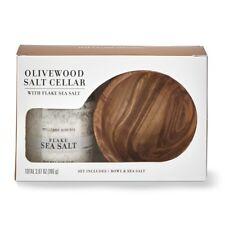 Williams Sonoma Olivewood Salt Cellar Gift Set With Flake Sea Salt