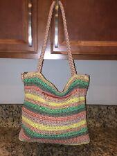 The SAK Leah gypsy stripe crochet handbag purse tote satchel rainbow nylon