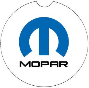 """MOPAR"" (white) Thick Rubber-Neoprene CAR COASTER  (1) PAIR"