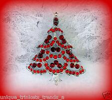 RUBY RED CHRISTMAS TREE RHINESTONE CRYSTAL SILVER GOLD WGP GIFT BROOCH PIN W BAG