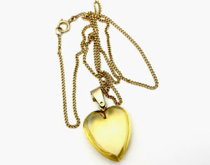 """Antique 9ct Gold Carved Citrine Heart Pendant 17"""" Chain Necklace GIFT BOXED"""