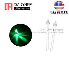 100pcs 2mm LED Diodes Water Clear Green Light Round Top Transparent