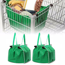 Foldable Reusable Shopping Grab Bag Eco Fabric Grocery Clip To Cart Trolley Tote