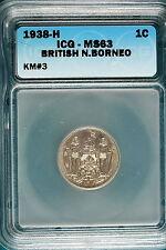 1938-H ICG MS63 British North Borneo 1 Cent KM#3! #B2503