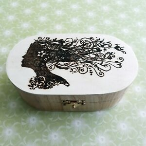 Girl with Flowing Hair Wooden Trinket Box. Personalised Pyrography, Wood Burning
