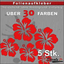 5er SET - HIBISKUS Aufkleber Folienaufkleber Auto/Styling/Blume  - 30 Farben