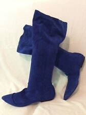 Office London Blue Knee High Suede Boots Size 40