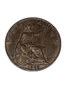 1925 George V UK Farthing Coin (1/4d) - Very Collectable!