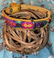 Dog Collar Genuine Leather Small Breed 100% Handwoven Colorful Silk Thread