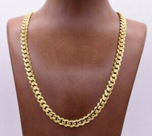 7.5mm Miami Cuban Royal Link Chain Shiny Plain Necklace Real 10K Yellow Gold
