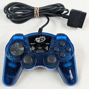 Mad Catz Dual Force Controller PlayStation 2 PS2 Transparent Translucent BLUE
