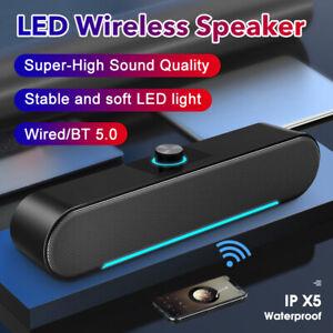 Bluetooth 5.0 Wireless/Wired Speaker TV PC Soundbar Subwoofer Home Theater UK
