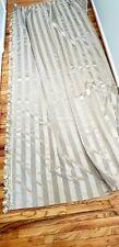 "8 VTG Barkcloth Curtains Panel Drapes French Pleated Fringe Tassel 108""L x 75"" W"