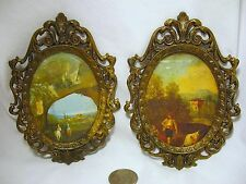"""2 OVAL 4 7/8"""" x 5 1/4"""" VINTAGE ITALY ORNATE BRASS WALL HANGING PICTURE FRAMES"""