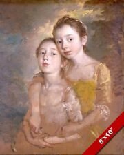 YOUNG SISTERS CLOSE PORTRAIT PAINTING CHILD CHILDREN KIDS ART REAL CANVAS PRINT