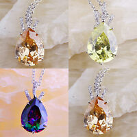 Amethyst & Morganite Rainbow & Blue Topaz Emerald Gems Silver Necklace Pendant