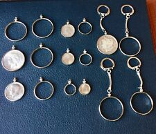 COIN HOLDER BEZEL LOT SILVER DOLLAR FIFTY CENTS QUARTER DIME NICKELS  16 TOTAL