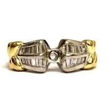 Platinum 18k yellow gold .50ct VS1 G diamond semi mount engagement ring 8.5g 6