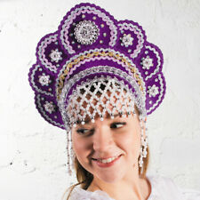Kokoshnik Traditional Russian Folk Costume Headdress. Drag Queen Кокошник Purple