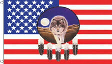 USA DREAMCATCHER FLAG 5' x 3' FEATHER & WOLF US Line Dancing America American