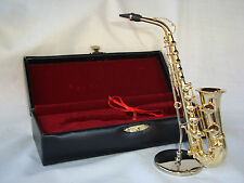 """Saxophone Miniature Only 6"""" Long W/Stand Velvet Lined Case Music Gift NIB"""