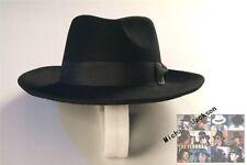 MICHAEL JACKSON MJ Black Fedora Billie Jean Wool Hat Cap Costume !!