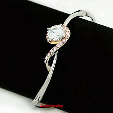 White Gold Filled Cubic Diamond Women Bangle Made With Swarovski Crystal T19
