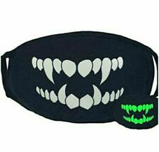Skull Vampire Sharp Teeth Face Mask Fashion Glows in the Dark Washable Reusable