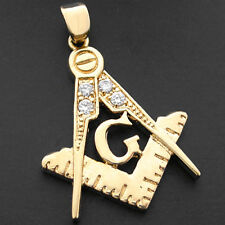 MASONIC Simulated Diamond 14k GOLD Layered Pendant + GUARANTEE FREEMASON