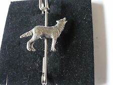 "Pin Pewter 3"" 7.5 cm Howling Wolf codeppa26 Scarf and Kilt"