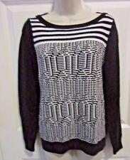 Womens Sweater Size Medium Banana Republic Black White Long Sleeve MED geometric