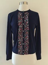 New J.Crew Liberty ruffle Jackie cardigan cotton blend navy floral H6194 size M
