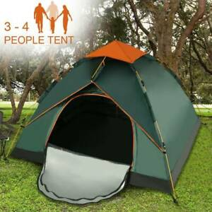 3-4 Man Automatic Instant Double Layer Pop Up Camping Tent Waterproof Outdoor UK