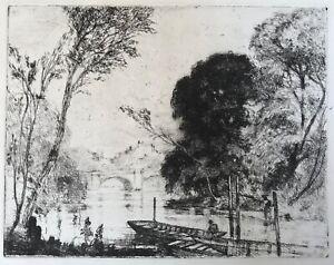 Richmond Bridge River Thames - Attributed William Westley Manning - Etching