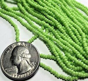 10/0 Lime Green Opaque Czech Seed Beads Full Hank