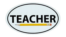 Magnetic Bumper Sticker - Teacher w/Pencil - Oval Shaped Support Magnet