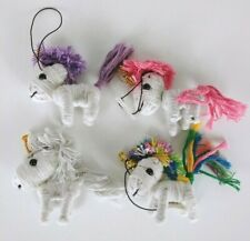 """lot of 3 Unicorn String Doll whiye pink blue purple toy collectible 2"""""""