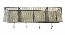 Wall Mounted Wire Kitchen Storage Baskets Black Metal Coat Clothes Hooks Hanger