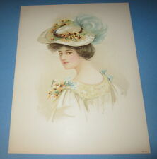 Old Vintage 1908 - Antique VICTORIAN PRINT - Lady - DAISIES - Flower HAT