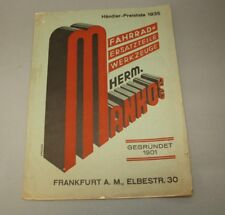 orig. Katalog 1935 Fahrrad Hochrad Rennrad Werbung Teile Zubehör MANKO AG [1039