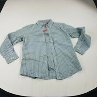 Izod Men's Shirt Slim Fit Medium Blue Green White Button-Front Long Sleeve New