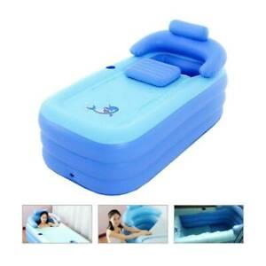 Aufblasbare Badewanne Schwimmbad Mit Nackenkissen Fußluftpumpe Kinder Erwachsene