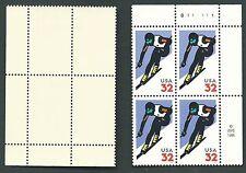 Scotts #3180  32c  ALPINE SKIING Plate Block of 4, MNH