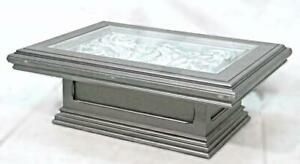 Silver Architectural Carved Wood Glass Top Cocktail Coffee Table Side End Center