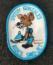 SPEEDY GONZALES rides SNO_JET ski-mobile racing 70s sew on Collectors Patch