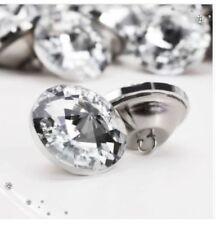 50pcs Crystal Diamante Rhinestone Round Buttons Upholstery Headboard Sofa Cloth