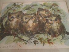 vintage litho family of owls signed barkin bird print 54/200 edition